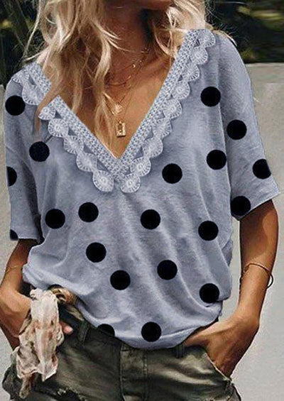 Polka Dot Lace Splicing Blouse without Necklace - Gray