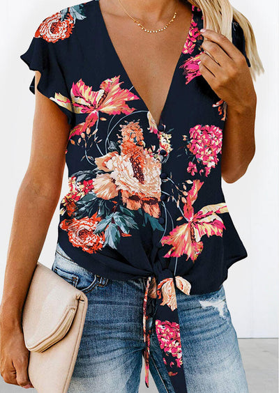 Floral Ruffled Tie Blouse without Necklace - Deep Blue