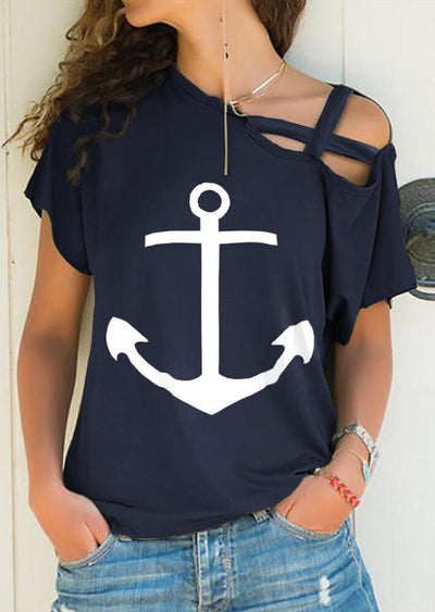 Anchor Hollow Out One Shoulder Blouse without Necklace - Navy Blue