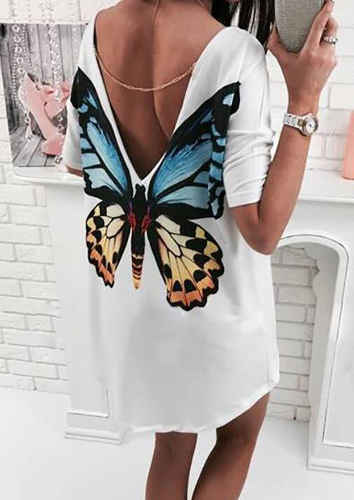 Butterfly Open Back Mini Dress without Necklace - White