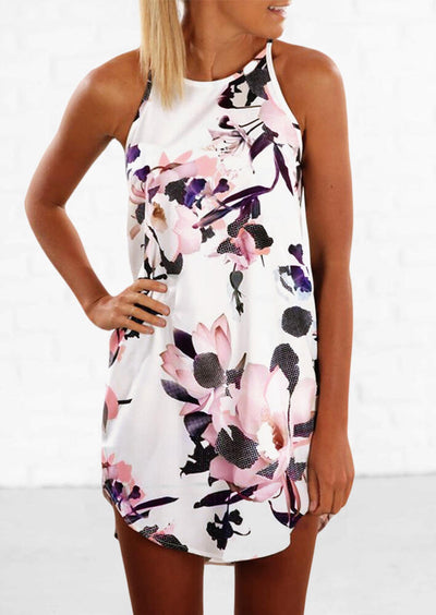 Floral O-Neck Asymmetric Mini Dress - White