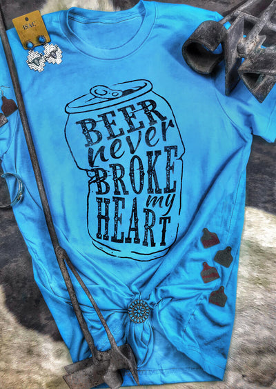 Beer Never Broke My Heart T-Shirt Tee - Blue