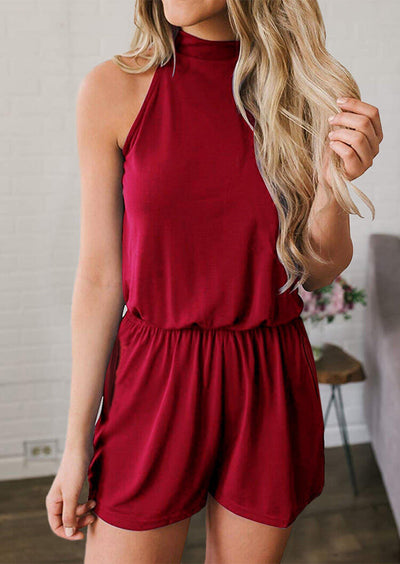 Pocket Drawstring Hollow Out Romper - Burgundy