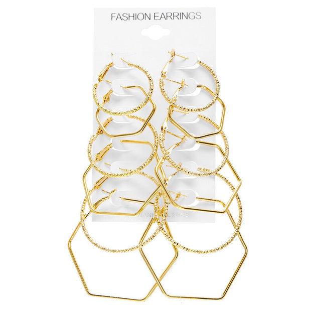 Six Paires/Set Women's Fashion Geometric Polygonal Earrings