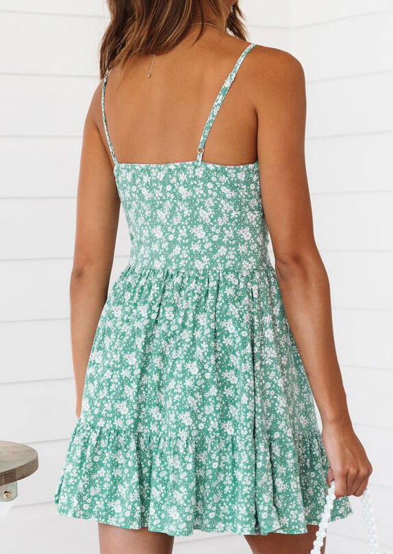 Floral Button Spaghetti Strap Mini Dress without Necklace - Light Green