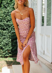 Floral Slit Spaghetti Strap Casual Dress without Necklace - Pink