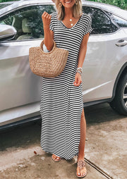 Presale - Striped V-Neck Slit Maxi Dress