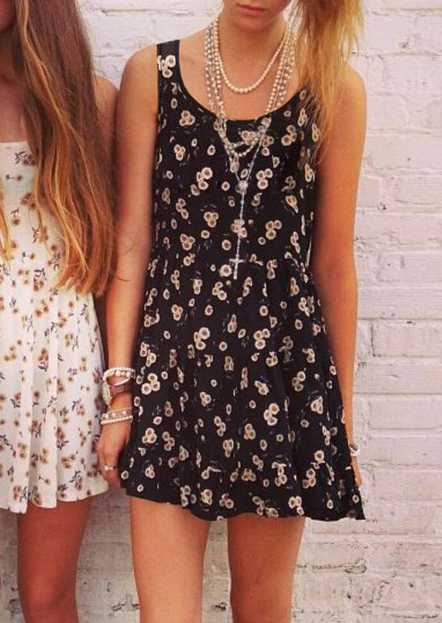 Presale - Sunflower Open Back Mini Dress without Necklace - Black