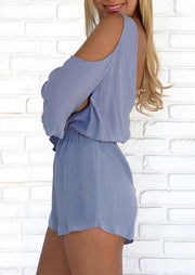 Presale - Ruffled V-Neck Cold Shoulder Romper - Light Blue