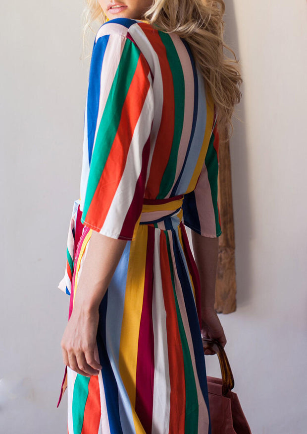 Presale - Striped Wrap V-Neck Casual Dress - Multicolor