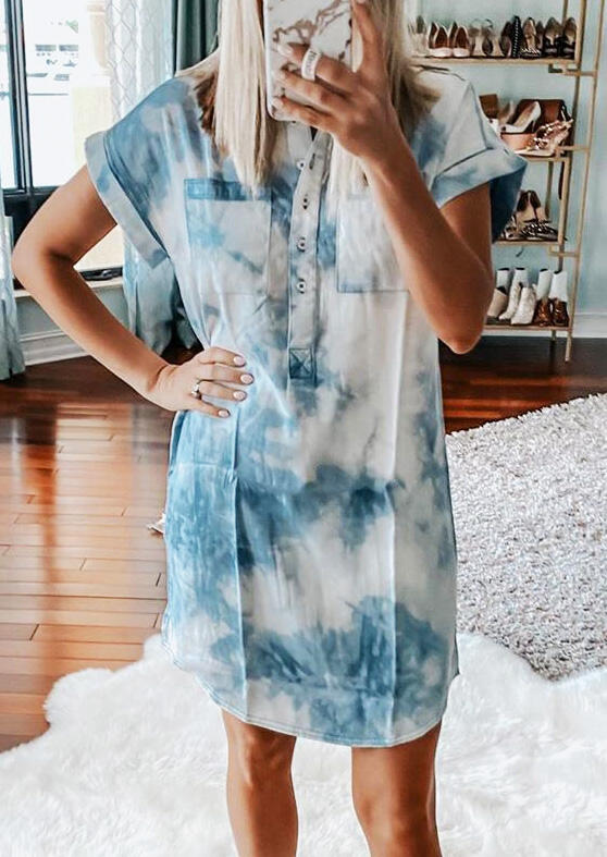 Presale - Tie Dye Button Pocket Mini Dress - Light Blue