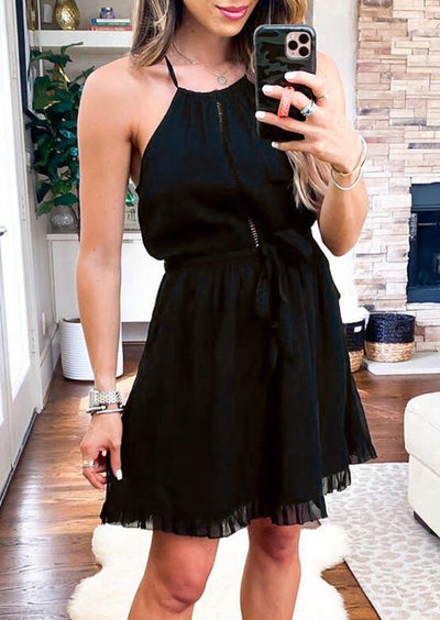 Presale - Lace Spaghetti Strap Mini Dress without Necklace - Black
