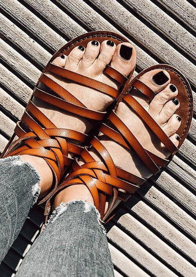 Presale - Criss-Cross Round Toe Zipper Flat Sandals