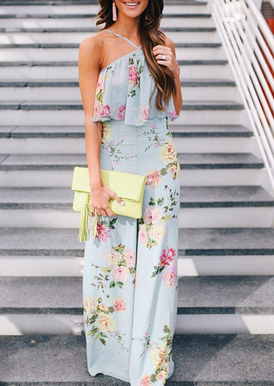 Presale - Floral Ruffled Open Back Jumpsuit - Light Green