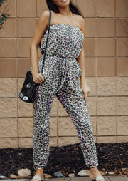 Presale - Leopard Printed Drawstring Off Shoulder Jumpsuit without Necklace