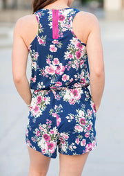 Presale - Floral Drawstring Pocket Zipper Romper without Necklace - Blue