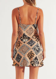 Presale - Leopard Printed Splicing Slit Mini Dress without Necklace - Khaki