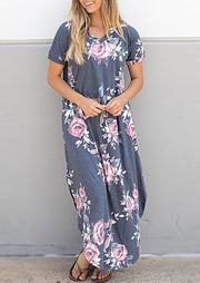 Presale - Floral Slit O-Neck Maxi Dress - Gray