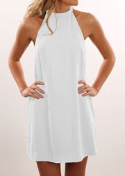 Solid Backless Halter Mini Dress