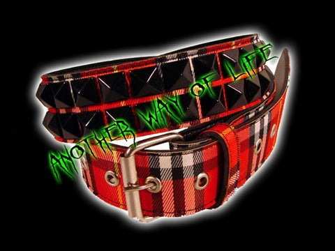Punk belt in leather with red tartan fabric and Black Spikes Another Way of Life