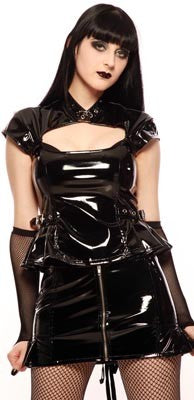 Women's Black vinyl top with buckles