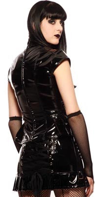 Women's Black vinyl top with buckles back
