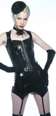 STOCK OFF LIP SERVICE Pinstripe vinyl Garter Girdle Another Way of Life