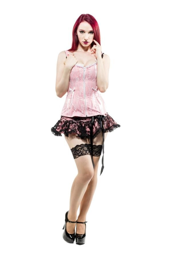 485477db6fc86 Micro mini skirt in pink vinil and black lace overlay – Another Way ...