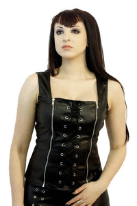 Phaze Black imitation leather PVC bodice with 2 zip Another Way of Life