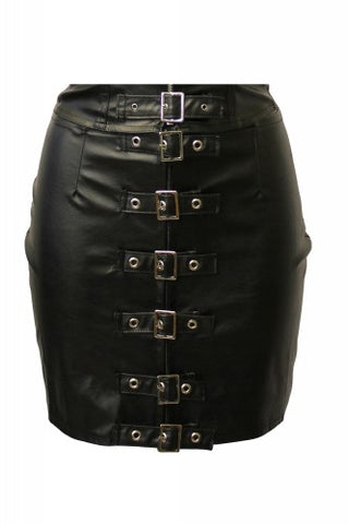 Mini skirt imitation leather PVC 6 buckles Another Way of Life
