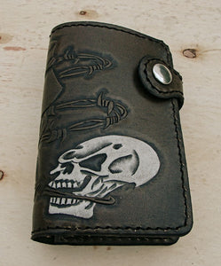 Bifold cow leather wallet biker style with white skull by Another Way of LifeAnother Way of Life
