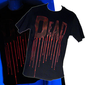 Men's Cyber Goth Black T-Shirt Dead With UV Rubber Another Way of Life
