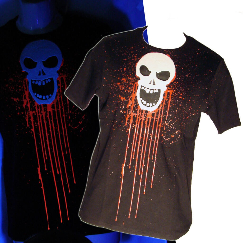 Men's Cyber Goth Black T-Shirt Skull with UV rubber Another Way of Life