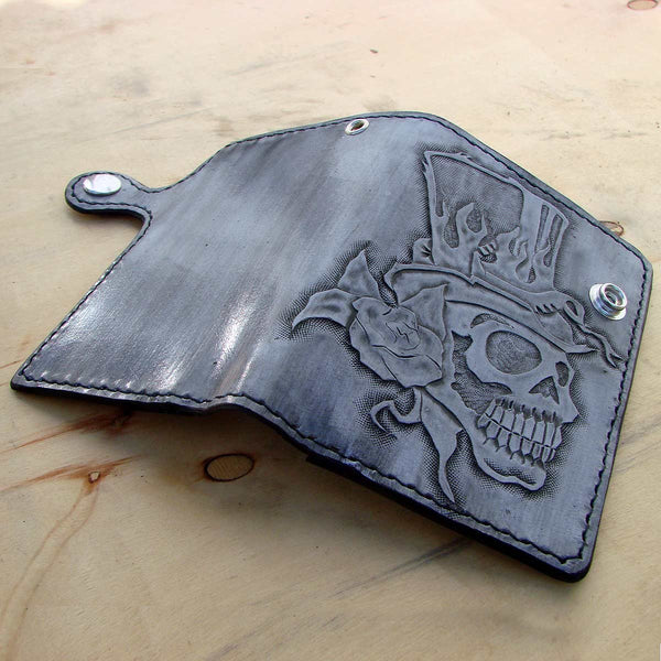 Bifold cow leather wallet biker style white  with skull Another Way of Life