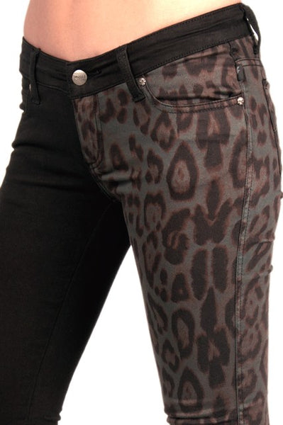 Split leg skinny jeans Leopard Print Another Way of Life