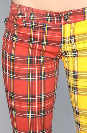Split Leg Pant in Red and Yellow Plaid 2