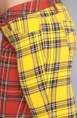 Split Leg Pant in Red and Yellow Plaid 5