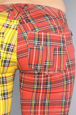 Split Leg Pant in Red and Yellow Plaid 3