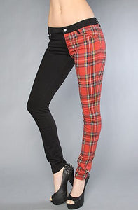 Tripp NYC Split Leg Pant in Black and Red Plaid Another Way of Life