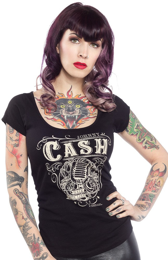 Sourpuss Womens T-shirt top  Johnny Cash Walk The Line Another Way of Life