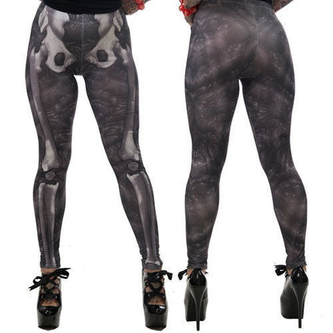Slime Skeleton Bones Leggings Gray