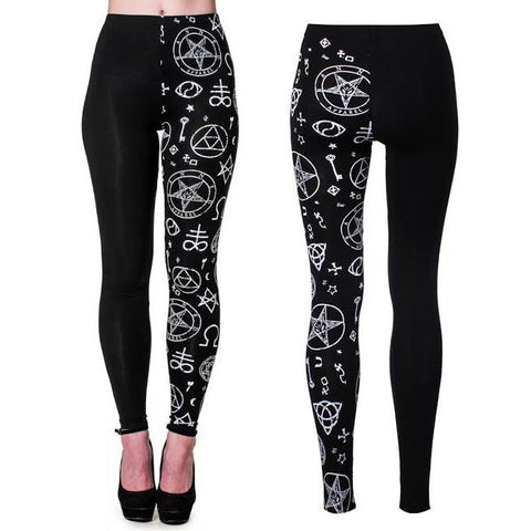 Bnned Split Leg Pentagram Leggings black Another Way of Life