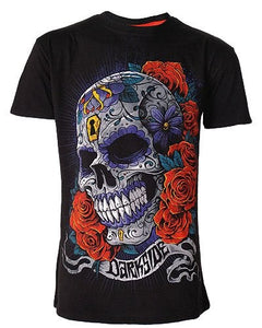 Women's Black T-Shirt Flower sugar skull