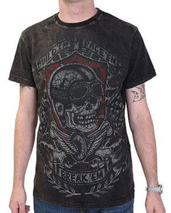 Men's Black T-hirt Garage Built Break Acid Wash - Another Way of Life