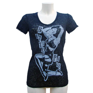 Woman T-shirt in black transparency Burnout Bettie Page