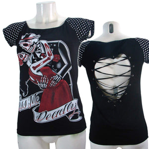 Women's T-shirt Top Kiss Me Deadly Black