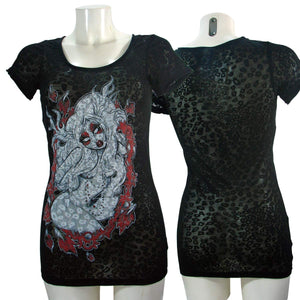 Women's T-shirt Top Antler Leopard Burnout Black