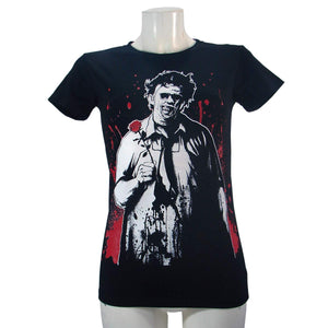 Women's Black T-Shirt Leatherface Slashback