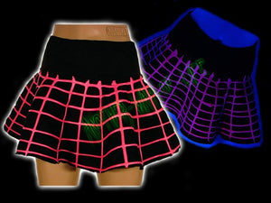 Cyber mini skirt in black and fluorescent pink - Another Way of Life