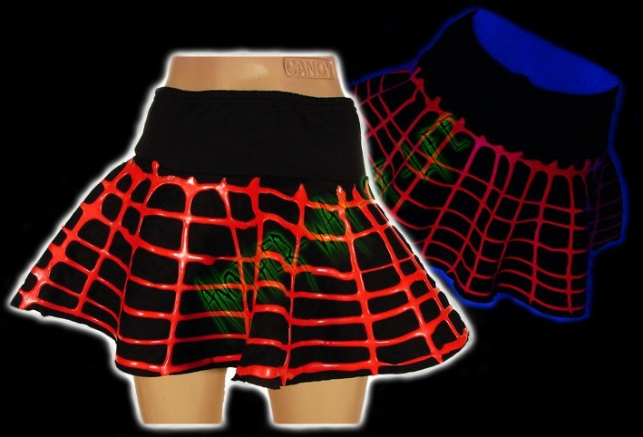 Couch Cyber mini-skirt with red UV rubber Another Way of Life